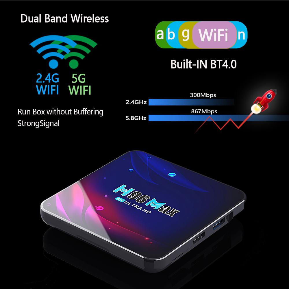 h96 max v11 rk3318 dual wifi 2.4G 5G android 11 smart tv box bluetooth4.0