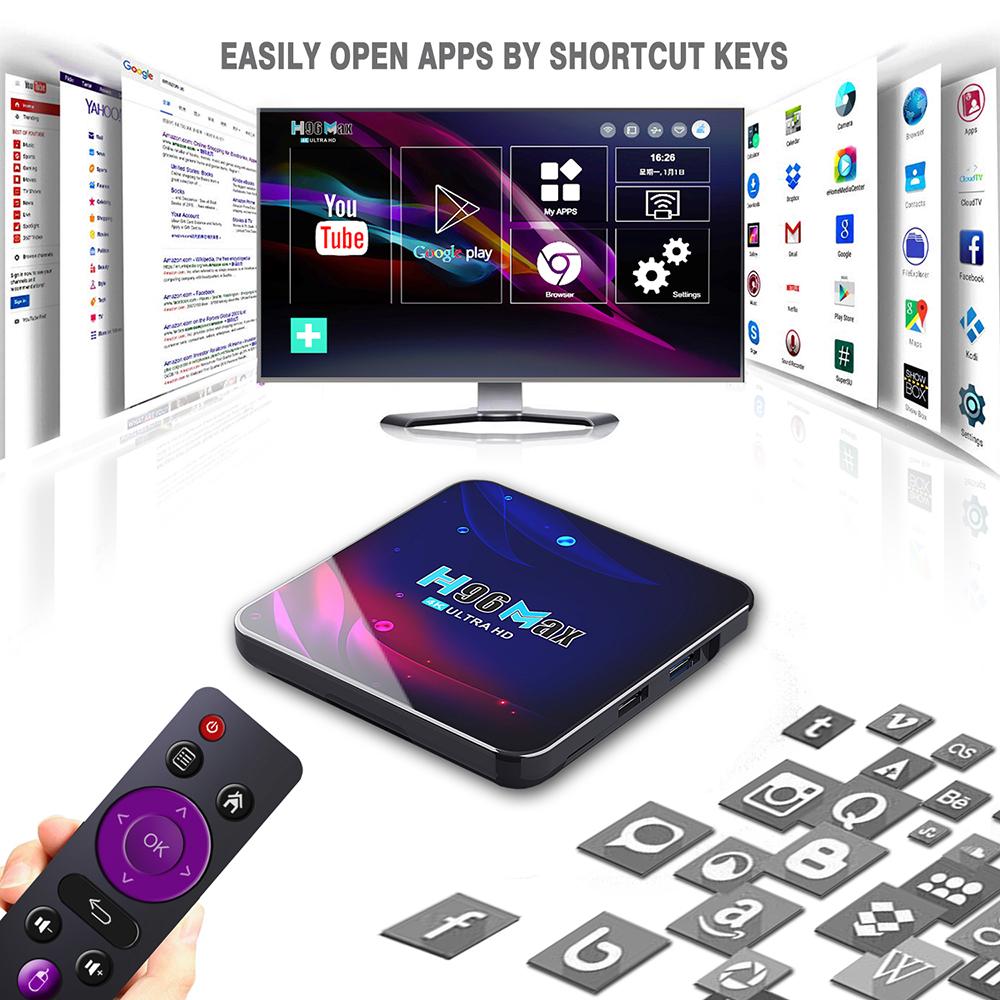 h96 max v11 rockchip rk3318 android 11 smart tvbox 4k hd youtube media player